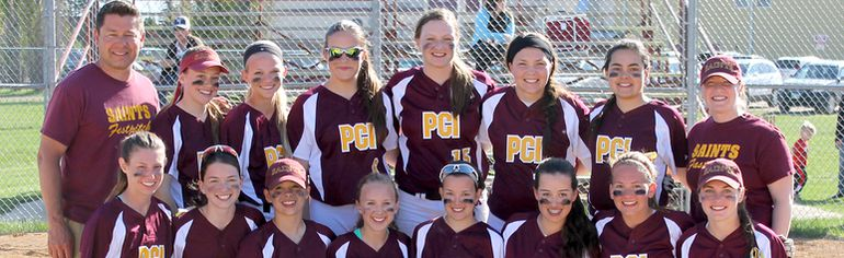 The PCI Saints girls fastpitch team defeated the Morden Thunder 8-2 on May 21 in the Zone 4 championship game. (submitted photo)
