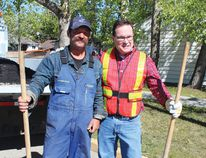 Operator 3 Terry Carrothers was teamed up with Drayton Valley Mayor (Glenn McLean this year as the pair tackled some potholes on the roads near St. Anthony School.