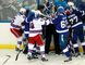 Members of the New York Rangers and Tampa Bay Lightning engage in a scrum after a whistle in Game 4 of the Eastern Conference final at Amalie Arena on May 22, 2015. (Kim Klement/USA TODAY Sports)