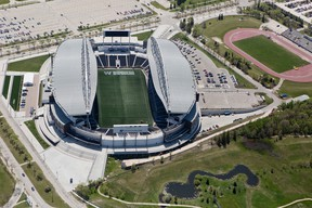"""Investors Group Field will be known as """"Winnipeg Stadium"""" for the duration of the FIFA Women's World Cup. Existing advertising, including the title sponsor's name on the exterior of the building, is being covered up."""