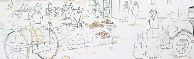 Sketch of the Fall 1910-1920 portion of the 34th Pembroke Heritage Murals project Pembroke Farmers Market 1890-1940. It willl consist of three panels representing three different seasons and eras of the farmers market.