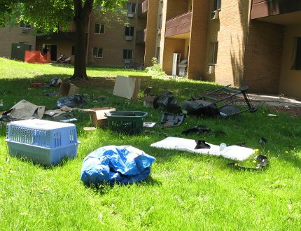 Items thrown from a the top balcony of a Kipps Lane apartment building. The building was evacuated as police repsonded. (Jennifer O'Brien, The London Free Press)