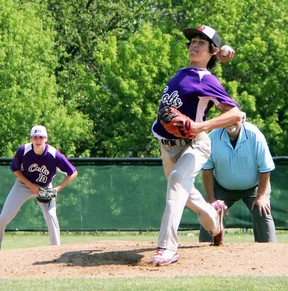 Brett Allardyce of the St. Clair Colts delivers a pitch to a Sandwich Sabres' batter during the senior boys high school baseball SWOSSAA challenge game at Errol Russell Park on Thursday May 28, 2015 in Sarnia, Ont. Terry Bridge/Sarnia Observer/Postmedia Network