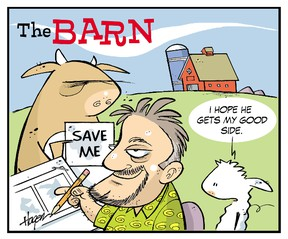 A caricature of Ralph Hagen with Stan and Rory of his successful comic, The Barn. - Image Supplied