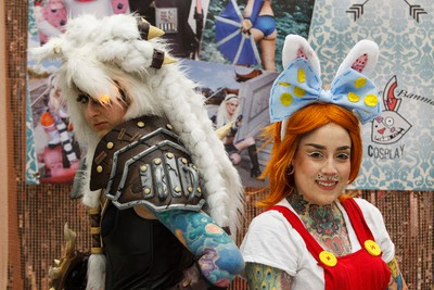 Cathrine Banman (left) as Rengar from League of Legends and Chelsey Stacey as Roger Rabbit pose for a photo during Eek! Fest 2015 at Servus Place in St. Albert in Edmonton, Alta., on Sunday, May 31, 2015. The two-day pop culture festival attracts thousands of comic, art, film and video game fans. Ian Kucerak/Edmonton Sun/Postmedia Network