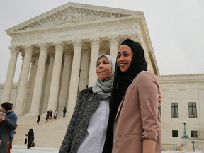 Muslim woman Samantha Elauf stands with her mother Majda outside the U.S. Supreme Court in Washington, in this February 25, 2015 file photo. The Supreme Court on June 1, 2015 ruled in favour of Elauf, who was denied a sales job in 2008 at an Abercrombie Kids store in Tulsa when she was 17. REUTERS/Jim Bourg/Files