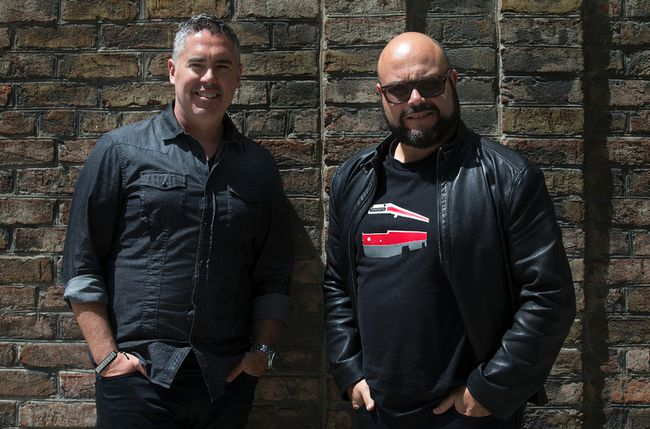 Barenaked Ladies (L-R) Ed Robertson and Tyler Stewart in Toronto, Ont. on Tuesday May 26, 2015. (Dave Abel, Postmedia Network)