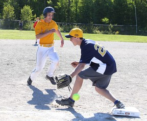Sebastien Larochelle of College Notre Dame is safe at third base as Brady Maltais of Bishop Cater misses a catch during high school boys slow pitch championship game action in Sudbury, Ont. on Monday June 1, 2015.