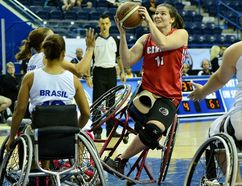 Londoner Darda Sales at the 2014 Women's World Wheelchair Basketball Championship in Toronto (photo courtesy Wheelchair Basketball Canada).