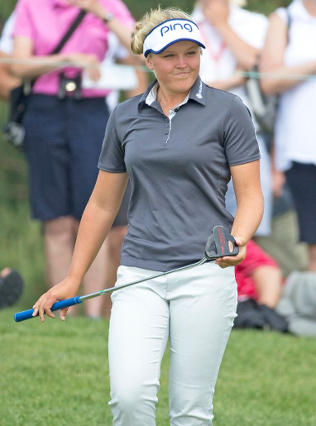 Brooke Henderson reacts after missing a putt on the 12th green Thursday at Whistle Bear Golf Club. (CRAIG GLOVER, Postmedia Network)