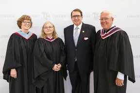 SUBMITTED PHOTO Guest speaker Sandie Sidsworth, executive director of the Canadian Mental Health Association, Hastings and Prince Edward Branch (centre left), was presented with the Hugh P. O'Neil Outstanding Alumni Award in recognition of her exceptional career success and leadership during Convocation at Loyalist College in Belleville on Thursday. Sidsworth poses with Loyalist College president and CEO, Maureen Piercy (left); Hugh P. O'Neil (centre right) and chairman of the Loyalist Board of Governors, Brian Smith.