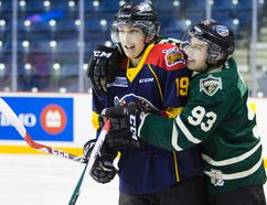 Dylan Strome of the Erie Otters and Mitchel Marner of the London Knights jostle at the end of practice before the CHL/NHL Top Prospects game on Jan 22. 2015 at the Meridian Centre in St. Catharines, Ont. (Bob Tymczyszyn/St. Catharines Standard)
