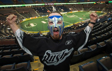 Edmonton Rush fan Micheal Thompson cheers on the team prior to their Champions Cup game against the Toronto Rock, at Rexall Place, in Edmonton Alta. on Friday June 5, 2015. David Bloom/Edmonton Sun/Postmedia Network