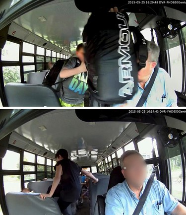 Kids gone wild.  Top, A framegrab from a dash cam video appears to show a student hitting a Catholic School bus driver in the face. The camera was set-up by the bus driver after he was experiencing issues during his duties.         Bottom;  A framegrab from a dash cam video appears to show a student stomping on a much younger and smaller student on Catholic School bus. Borth icidents are now being investigated by the Edmonton Police Service.