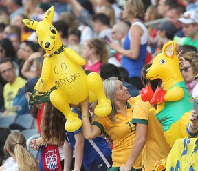 Australian fans wave kangaroos for their team during a World Cup game against the United States in Winnipeg Monday June 8, 2015. (Brian Donogh/Winnipeg Sun/Postmedia Network)