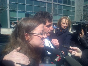 Michelle Liard outside Brampton court after being acquitted on Monday, April 2, 2012, of killing 13-year-old Aleksandra Firgan-Hewie.