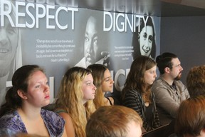Dave MacLeod's grade 12 class listens while on the Tour of Humanity bus at South Huron highschool. (SHDHS photo contributed) Story: