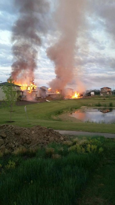 Three houses were destroyed by a Calmar fire, June 10, 2015. (Olivia Carstairs/Reader photo)