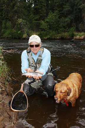 Emmerson Dober with a House River Arctic grayling.