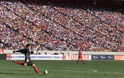 Edmonton Alta  Aug 15, 2002.Team Canada goalkeeper Erin McLeod boots a goal kick against Team Denmark in front of a huge crowd at Commonwealth Stadium during their match at the FIFA U-19 Women's World Soccer Championships. Edmonton Sun/QMI Agency