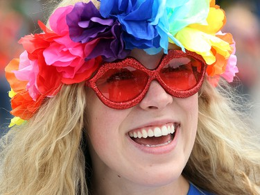 Hannah Taylor smiles during the annual Gay Pride Parade in Winnipeg, Man. Sunday June 14, 2015. Brian Donogh/Winnipeg Sun/Postmedia Network