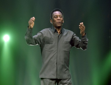 Legendary Brazilian soccer player Pele speaks during Electronic Arts media briefing before the opening day of the Electronic Entertainment Expo at the Shrine Auditorium in Los Angeles June 15, 2015.    REUTERS/Kevork Djansezian