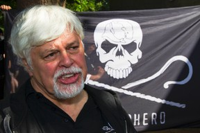 Marine conservationist and Sea Shepherd founder Paul Watson attends a rally of animal rights activists in Berlin, in this May 23, 2012, file photo. Watson, a Canadian environmentalist and star of a reality television show, says Canada has effectively barred him from returning to the country since his passport was seized three years ago by German authorities. REUTERS/Thomas Peter/Files