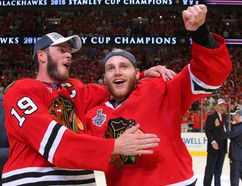 Chicago Blackhawks captain Jonathan Toews, left, celebrates with fellow superstar Patrick Kane after defeating the Tampa Bay Lightning in game six of the 2015 Stanley Cup Final. (Dennis Wierzbicki/USA TODAY Sports)