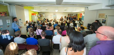 Residents ask questions during the Danforth Community Safety Town Hall held at Woodgreen Offices on Danforth Ave near Coxwell Ave in Toronto, Ont. at  on Tuesday June 16, 2015. Ernest Doroszuk/Toronto Sun/Postmedia Network