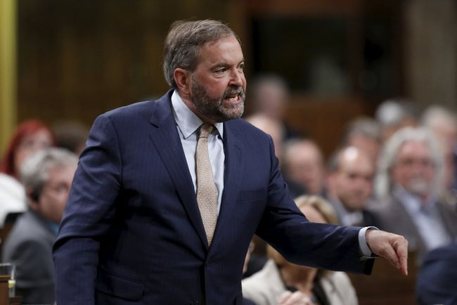 New Democratic Party (NDP) leader Thomas Mulcair speaks during Question Period in the House of Commons on Parliament Hill in Ottawa, Canada, June 17, 2015. REUTERS/Chris Wattie