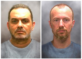 Prison inmates Richard Matt, 48, (L) and David Sweat, 35, are seen in a combination of enhanced pictures released by the New York State police June 17, 2015, showing how they might look after escaping 12 days ago.  After more than 1,200 tips from the public, authorities on Wednesday expanded a manhunt for two killers whose brazen escape from the maximum-security Clinton Correctional Facility in Dannemora, New York, on June 6.  (REUTERS/New York State Police/Handout)
