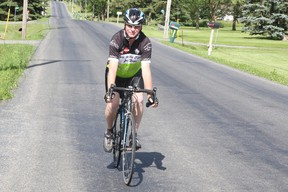 JASON MILLER/THE INTELLIGENCER Chris Jeffrey has  decided to dedicate his first ride for cancer to his wife Pam who died two months after being diagnosed with cancer last fall. The Jeffrey's have raised $60,000 for diabetes care over the past nine years before Pam's death.