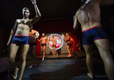 Male contestants in the Mr and Miss CHIN Bikini, part of the CHIN International Picnic held at Revival Lounge on College St in the Little Italy neighbourhood in Toronto, Ont. on Friday June 19, 2015. Ernest Doroszuk/Toronto Sun/Postmedia Network