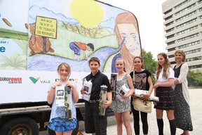 The annual Fast Flowing Water Contest winners were announced at Tom Davies Square in Sudbury, Ont. on Thursday June 18, 2015. The winners include Grade 4 winner Mika Blachette, of Cyril Varney Public School, Grade 5 winner Justin Lancup, of St. Dominique, Grade 6 winner Jacey-Lynn Batchilder, of Holy Cross, Grade 7 winner Sarah Kenny, of Lansdowne Public School, video contest winner Hope Tyson, of Marymount Academy, and Grade 8 winner and overall contest winner Kelly Mazerolle, of St. Anne, represented by her mom, Jeannette Boudreau. The contest was an initiative of the Junction Creek Safety Committee shortly after 13-year-old Adam Dickie drowned on August 25, 2007 in Junction Creek. John Lappa/Sudbury Star/Postmedia