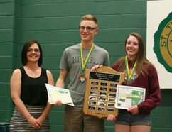 STM Principal Paulette Goodall (far left) presented the Sr. STM Award to Hayden Boytinck and Lisa Fox. The Jr. STM Awards went to Amy Caspar and Devon Boytinck.