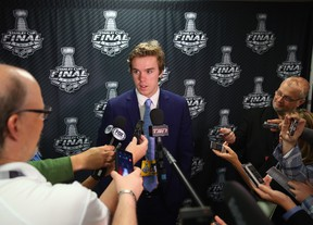 Upcoming NHL draft pick Connor McDavid speaks with the media during media availability at United Center on June 8, 2015 in Chicago, Illinois.   Bruce Bennett/Getty Images/AFP