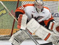 Former Winkler Flyers goaltender Devon Fordyce (94) has committed to the Red Deer College Kings of the ACAC (Alberta Colleges Athletic Conference) for the 2015-16 season. (RYAN SAWATZKY)
