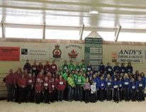 Susie Peters/Special to Peace Country Sun Wildrose, DCC Ridgevalley and Da She Be 4-H Clubs gathered for a group photo (above), while (below) a member of the Wildrose club finds a soft place to rest during the event.