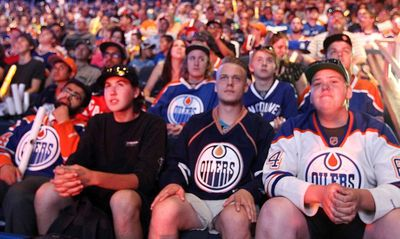 Fans wait for the first draft at the Edmonton Oiler Draft Party at Rexall Place in Edmonton, Alberta Friday, June 26, 2015.Perry Mah/Edmonton Sun/Postmedia Network
