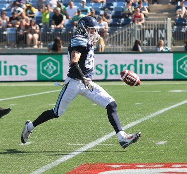 Toronto Argonauts wide receiver Dave Stala attempts a punt during the first half of play against the Edmonton Eskimos in Fort McMurray Alta. on Saturday June 27, 2015. Robert Murray/Fort McMurray Today/Postmedia Network