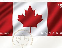 Canada Post is celebrating Canada Day and the Canadian flag with a special fabric stamp. Made from rayon, the stamp features a three-dimensional image of the Canadian flag and provides $5 in postage. (Photo courtesy Canada Post)