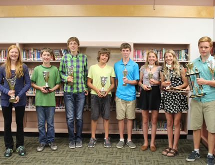 Grade 8 award winners from Yellowquill School's Middle Years Celebration Day on June 26, 2015. From left: Paige McArthur, Ambassador Award; Carter Freisen, Quill Award; Ryan Martens, Quill Award; Logan Rands, Quill Award; Logan Calder, Male Athlete of the Year Award; Maddie Shwaluk, Female Athlete of the Year Award; Paige Shwaluk, Female Athlete of the Year Award; and Tyler Morris, Jake Klassen Award, Ambassador Award, and Student Council Award. Missing: Garret Maly, Quill Award. (Johnna Ruocco/THE GRAPHIC/POSTMEDIA NETWORK)