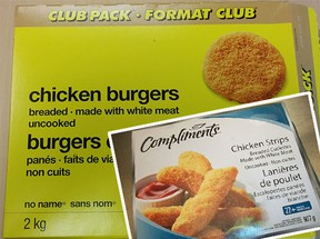 No Name chicken burgers and (inset) Compliments chicken strips (CFIA)