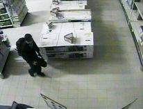 The suspect in the Canadian Tire break-in that spurred what was initially believed to be an armed stand-off on June 17, is seen here in an image taken from an in-store surveillance camera. Timmins Police announced Thursday they have made an arrest in connection with this incident.