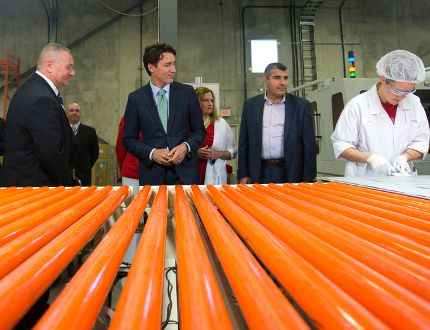 Justin Trudeau sees how solar panels are made at London's Canadian Solar plant, part of the federal Liberal leader's campaign-style Forest City swing Thursday. (CRAIG GLOVER, The London Free Press)