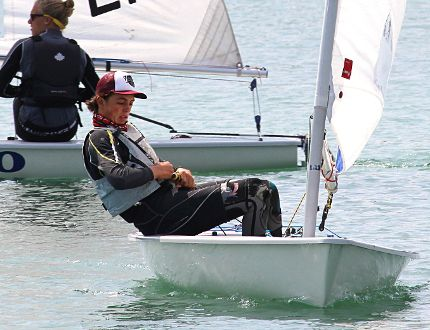 Toronto's Noah Collinson, 15, steers in the basin of the Sarnia Yacht Club Friday, as he and other competitors were preparing for Sailfest Sarnia races this weekend. The 16th annual regatta races this year feature four classes of dinghy sailboats. (Tyler Kula, The Observer)