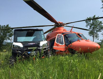 Submitted photo Two tools of the rural area rescue trade await the transport of a patient on Friday morning near Brudenell. The 63-year-old man spent two hours trapped at the bottom of an enbankment under his skidder before members of the brand new Renfrew County Paramedics Remote Access and Treatment Team were able to rescue him and get to a waiting Ornge air ambulance team to take him in serious but stable condition to Ottawa Hospital.