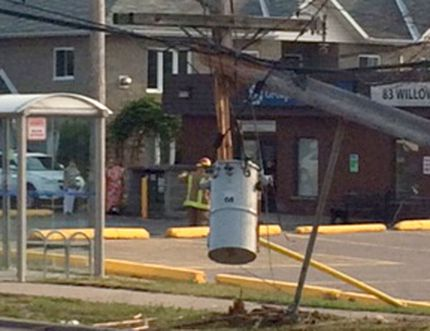 A 2015 Chrysler 200 Limited struck a hydro pole on Willow Avenue on Saturday night. A young male driver fled on foot. (SUPPLIED PHOTO)