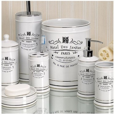 For a subtle and sophisticated ode to the land of baguettes and brie, Linen Chest's Paris collection is hotel inspired and includes everything from a soap dispenser to a waste basket.  $9.56-$35.96  Linen Chest