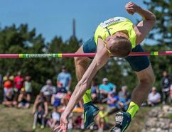 Derek Drouin earned the gold medal in senior men's high jump at the Canadian national track and field championships in Edmonton by leaping 2.34m. The 25-year-old Corunna native's jump also broke a record at the event set by Milton Ottey in 1986. (Handout/Sarnia Observer/Postmedia Network)